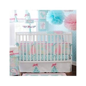 Crib Bedding Set Baby 5pc Nursery Paisley Polka Dots Bows Aqua Pink