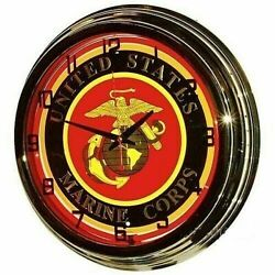 Retro Nostalgic 17 USMC United States Marine Corps Sign Red Neon Wall Clock NEW