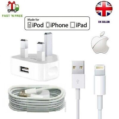 iPhone Charger Cable and Plug - Apple Lightning Sync USB Lead 8 7P 6s 5 X XS Max