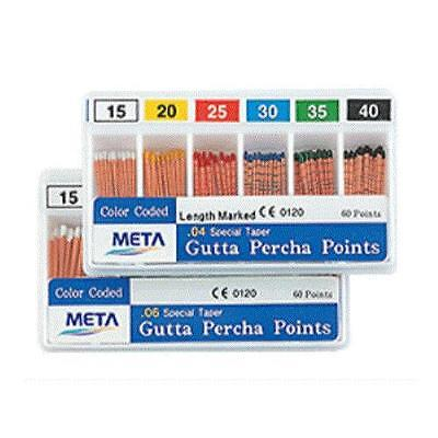 Meta Gutta Percha Points - 20 Taper Size 0.04 Color Coded - Box Of 60