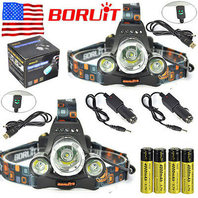2x BORUiT 13000lm 3xXM-L T6 LED Headlamp Headlight 18650 Battery +Charger Sets
