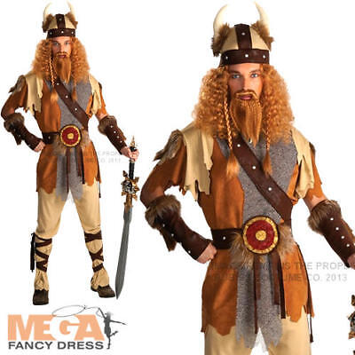 Viking Warrior + Helmet Mens Fancy Dress Historical Medieval Adult Male Costume](Male Medieval Costumes)