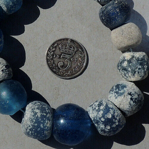 17 ancient blue round ancient islamic roman glass beads mali #1830