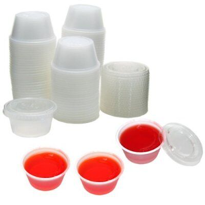 Plastic Cup (2oz Large Jello Jelly Shot Souffle Portion Cups with Lids Option, Clear)