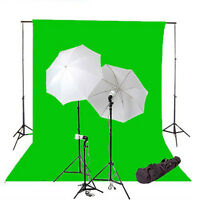 Umbrella Triple Lighting Kit, Support, 10'x20' Green Backdrop