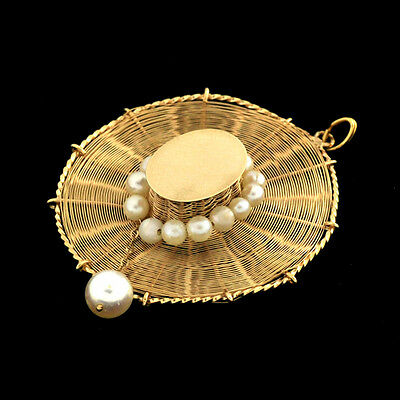 1960's Hand Made Charming Vintage 14 k Solid 3D Lady/s Sun Hat Accents Pearls