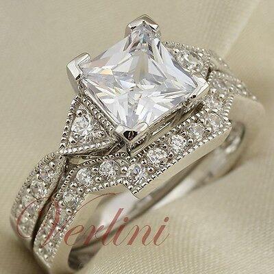 2.5 Ct Princess Cut Aaa Cz 925 Sterling Silver Wedding Ri...