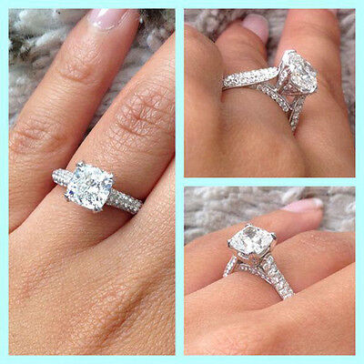 3.40 Ct Cushion Cut Diamond Engagement Ring Round Cut Pave Platinum I,VS2 GIA
