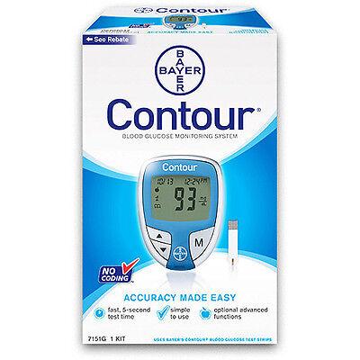 Contour Blood Glucose Monitoring System No Coding  Blue Color