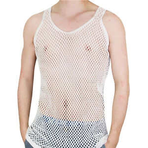MENS STRING MESH VEST FITTED 100% COTTON GYM TRAINING TANK TOP T SHIR