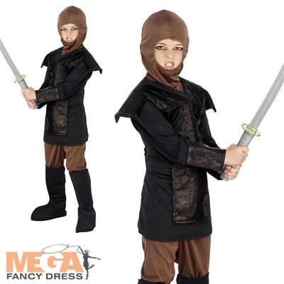 Samurai Girl Kostüm (Samurai Warrior Ninja Kids Fancy Dress Martial Arts Assassin Boys Girls Costume )