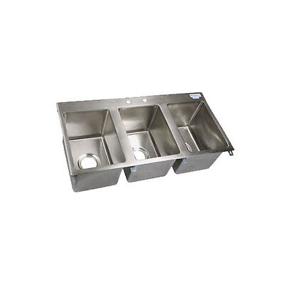 Bk Resources Bk-dis-1014-3 Three Compartment 36x18 Stainless Steel Drop-in Sink