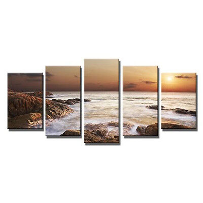 Canvas Print Painting Picture Wall Art Home Decor Landscape Sea Brown Rocks
