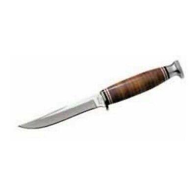 Ka-bar 1232 Leather Handle Hunter Straight Fixed Blade Hunting Knife + Sheath