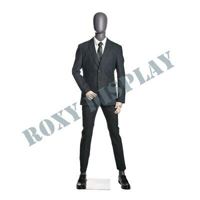 Male Matt Grey Egghead Wooden Arms Mannequin Dress Form Display Mz-qs2