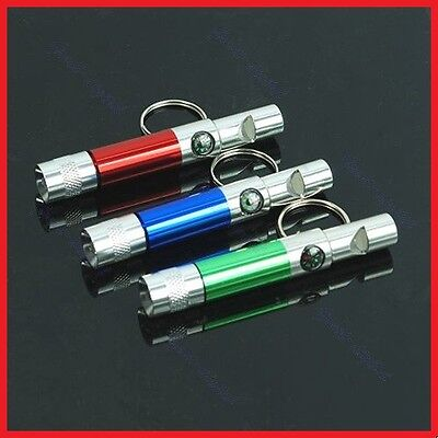 Portable LED Torch Light Compass Whistle Keychain Keyring
