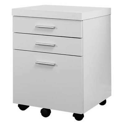 Monarch 3 Drawer Rolling Portable Filing Cabinet White Open Box