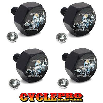4 Black Billet Hex License Plate Frame Tag Bolts SKULL FINGER FU - 061