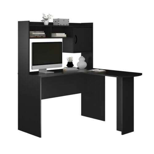 Mainstays L-Shaped Corner Computer Desk with Hutch, Brown