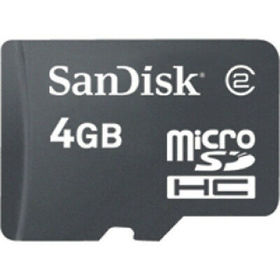 Brand New MicroSDHC SanDisk 4GB Memory Card w/SD Adapter OEM Original Retail