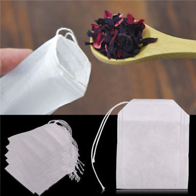 100Pcs Empty Draw String Teabags Heat Seal Filter Herb Loose Tea Bag Pouch