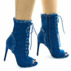 Blue Peep Toe Synthetic Boots for Women