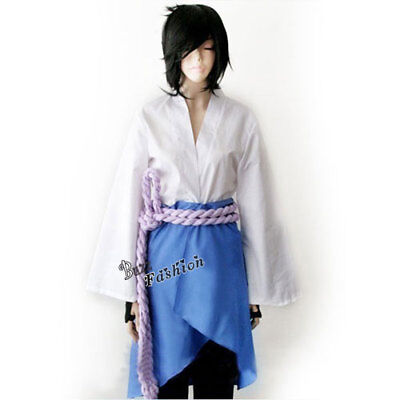 Sasuke Uchiha 3rd White Mixed Blue Anime Men Cosplay Party Kostüm / Schwarz
