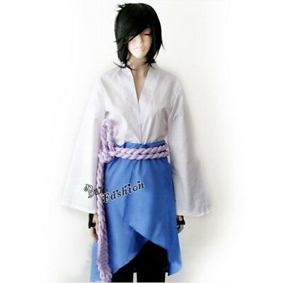 Sasuke Uchiha 3rd White Mixed Blue Anime Men Cosplay Party Kostüm / Schwarz 2018