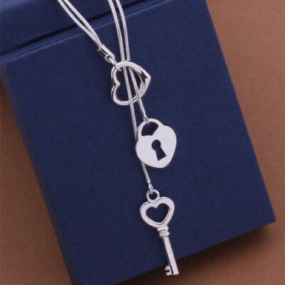 925 Sterling Silver New Fashion Heart Lock & Key Necklace (Pendant + Chain) 925 Sterling Silver Heart