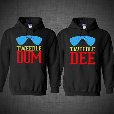Couple matching hoodies DISNEY Tweedle Dee Dum funny Halloween costume (Halloween Costumes Couples Disney)