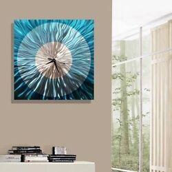 Aqua/Silver Abstract Metal Wall Clock - Modern Functional Art - Aquatica Clock
