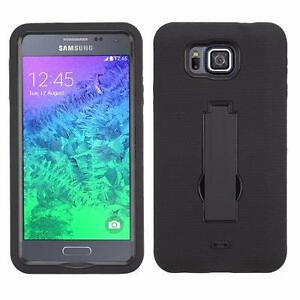 Samsung Galaxy Alpha Tough Heavy Duty Rugged Armor Rubberized Cushion Hybrid Protector Kick Stand Cover Case
