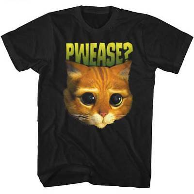 Shrek Puss In Boots Cat Face Pwease Adult T Shirt Kids Movie