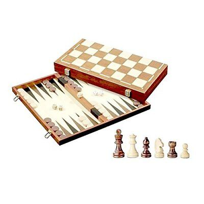 3-in-1 Wood Combination Chess, Checkers, and Backgammon Game Set
