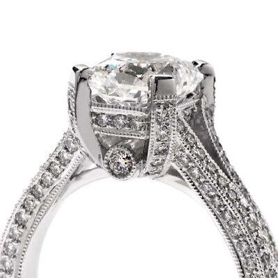 1.77ctw GIA Radiant Vintage Style Pave Split Shank Engagement Ring 18K Gold 1