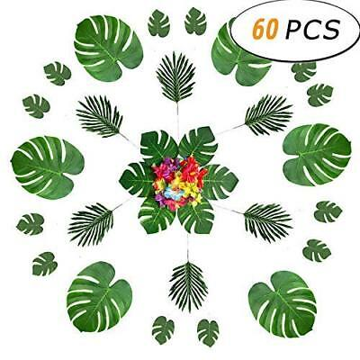 60PCS Artificia Tropical Leaves Silk Hibiscus Flowers Party Decorations Supplies