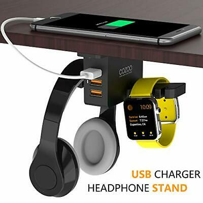Headphone Stand Charger COZOO Under Desk Holder Mount 3 Port USB Charging NEW