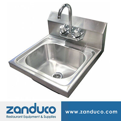 Omcan Stainless Steel Wall Mounted Hand Sink With 4-inch Faucet And Strainer