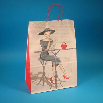 """250 Papiertragetaschen Einkaufstüten Papier 32+17x44cm Motiv """"Elegance"""" 100g/m²"""