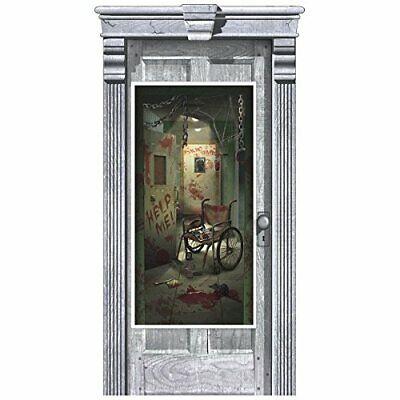 Asylum Halloween Party (ASYLUM DOOR COVER Halloween Party Decorations Door BLOODY INSANE Wall)