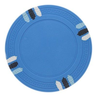 - 12 Stripe Non-Denominated 13.5g Poker Chips, Light Blue Clay Composite, 50-pack