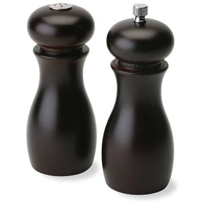 Caffe Espresso Pepper Mill And Salt Shaker Set - Black Wood 6 Inches High