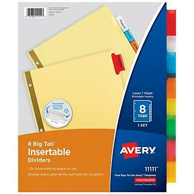 Avery 8-tab Binder Dividers Insertable Multicolor Big Tabs 8 Set 11111