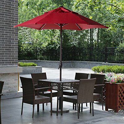 7-1/2 ft Round Outdoor Market Patio Umbrella Push Button Tilt and Crank Lift Red