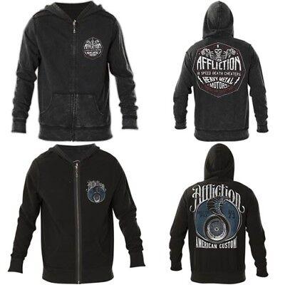 AFFLICTION Mens Hoodie Sweat Shirt ZIP UP Jacket REVERSIBLE High Speed UFC $98 Reversible Sweatshirt