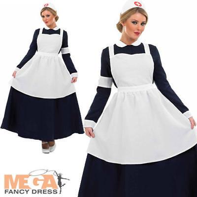 Victorian Nurse Ladies Fancy Dress Florence Nightingale Womens Adults Costume