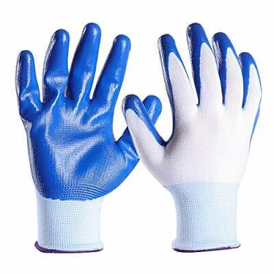 Nitrile Knitted Work Gloves Carpentry Gardening Workshop 12 Pairs Men Large Blue
