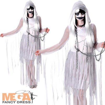 Ghostly Girl Ghoul Ladies Fancy Dress Womens Halloween Ghost Zombie Costume - Ghostly Girl Kostüm