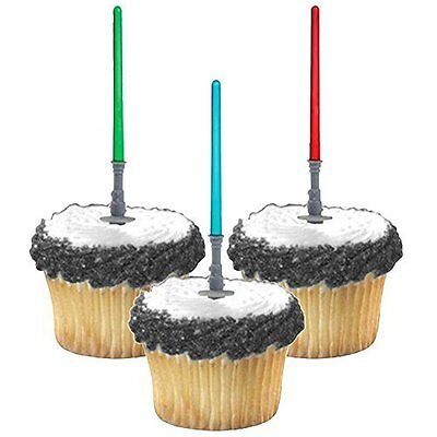 Star Wars Cupcake Toppers Colorful Light sabers Birthday Party Decorations Sets - Star Wars Birthday Decorations