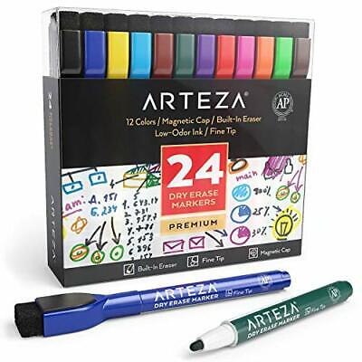 Magnetic Dry Erase Markers With Eraser Pack Of 24 12 Assorted Colors